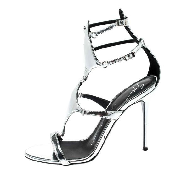 Giuseppe Zanotti Leather Metallic Strappy Silver Sandals Image 1