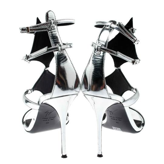 Giuseppe Zanotti Leather Metallic Strappy Silver Sandals Image 3