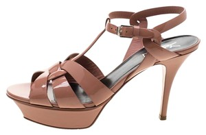 Saint Laurent Patent Leather Leather Strappy Ankle Beige Sandals