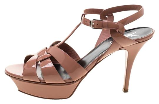 Saint Laurent Patent Leather Leather Strappy Ankle Beige Sandals Image 0