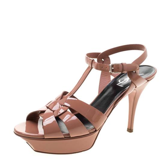 Saint Laurent Patent Leather Leather Strappy Ankle Beige Sandals Image 1