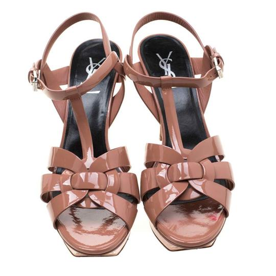 Saint Laurent Patent Leather Leather Strappy Ankle Beige Sandals Image 2