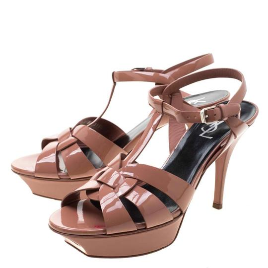 Saint Laurent Patent Leather Leather Strappy Ankle Beige Sandals Image 3