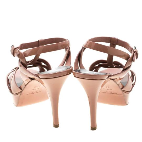 Saint Laurent Patent Leather Leather Strappy Ankle Beige Sandals Image 5