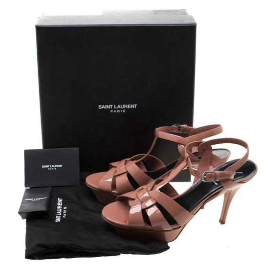 Saint Laurent Patent Leather Leather Strappy Ankle Beige Sandals Image 7