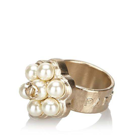 Chanel Chanel Metal CC Faux Pearl Ring Image 8