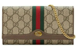 Gucci Chain Wallet New Ophidia Web Beige Ebony Gg Supreme Canvas Cross Body