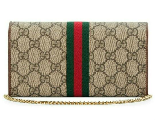 Gucci Chain Wallet New Ophidia Web Beige Ebony Gg Supreme Canvas Cross Body Image 1