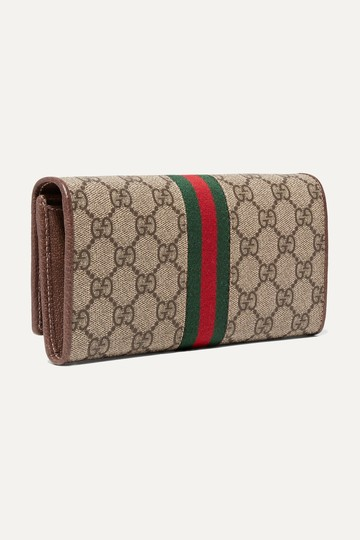 Gucci Chain Wallet New Ophidia Web Beige Ebony Gg Supreme Canvas Cross Body Image 9