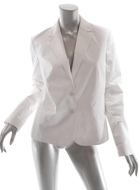 Theory Cream Cotton Blend Poplin Two Button Shaped Jacket Blazer Size 12 (L) Theory Cream Cotton Blend Poplin Two Button Shaped Jacket Blazer Size 12 (L) Image 1