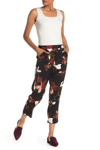 14th & Union Stretchy Elastic Soft Floral Capri/Cropped Pants Black