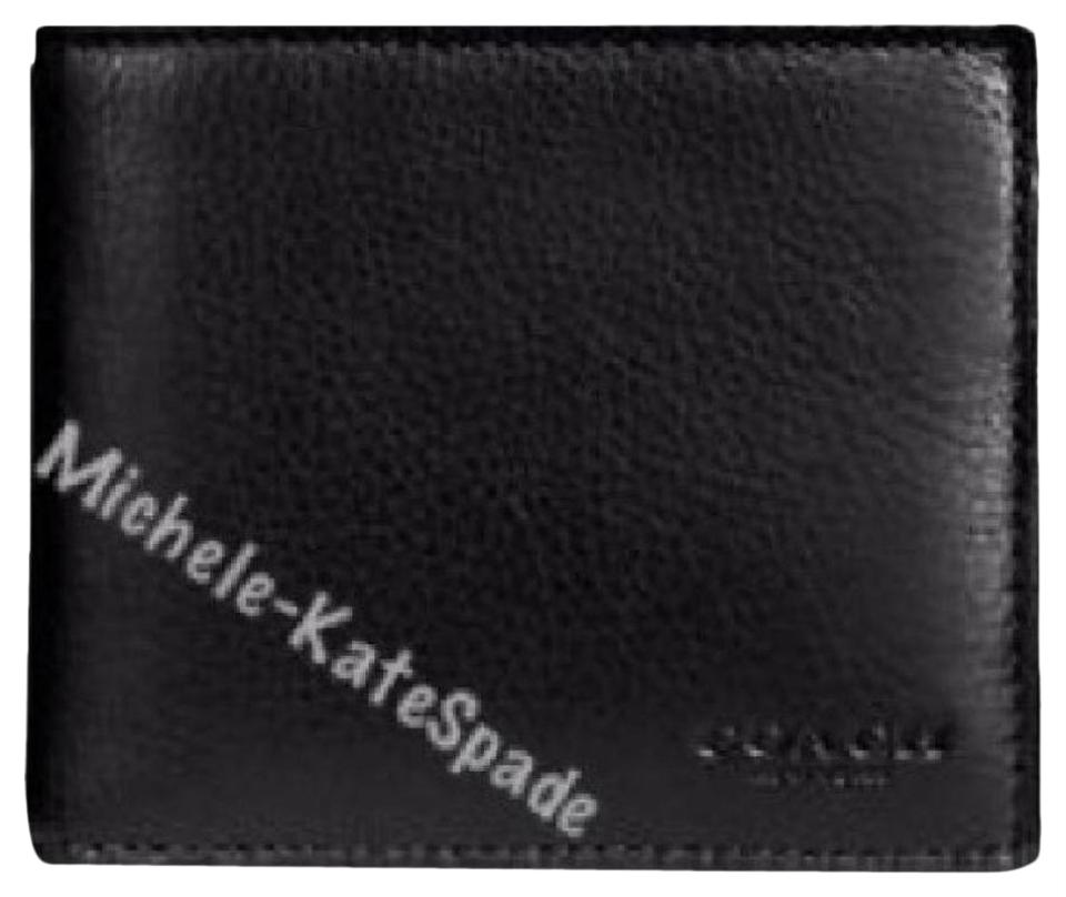 NWT Coach F74991 Black Compact ID Mens Wallet in Sport Calf Leather MSRP $175.00