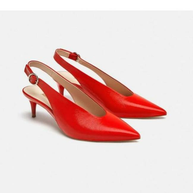 Zara Red New Slingback Cow Leather