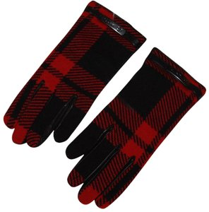 Coach Coach Leather /Wool Plaid Mount glove Women's size 6.5