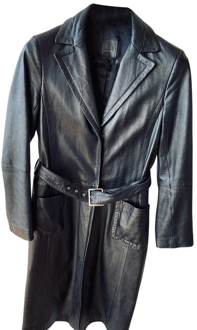 BCBGMAXAZRIA Long Leather Coat Size 6 (S) BCBGMAXAZRIA Long Leather Coat Size 6 (S) Image 1