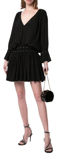 Item - Black Studded Trim Gathered Mini Short Casual Dress Size 2 (XS)