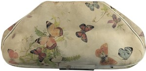 Anthony Luciano Butterfly Suede Painted Wood Handle Vintage Pale Green Clutch