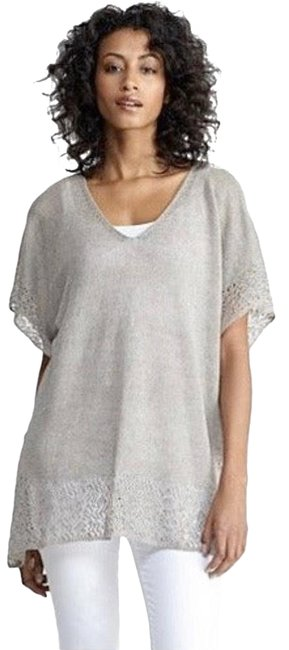 Eileen Fisher Grey Linen Delave with Lace Trim Tunic Size Petite 4 (S) Eileen Fisher Grey Linen Delave with Lace Trim Tunic Size Petite 4 (S) Image 1