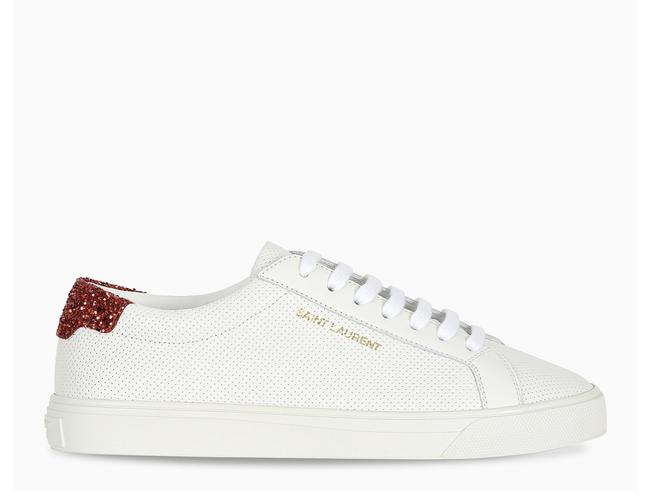 Item - White Df Red Glitter Heel Andy Sneakers Size EU 37 (Approx. US 7) Regular (M, B)
