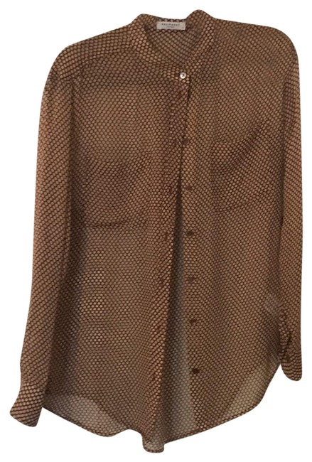 Item - Maroon Nwot Sheer Beige Polka Dot Blouse Button-down Top Size 4 (S)