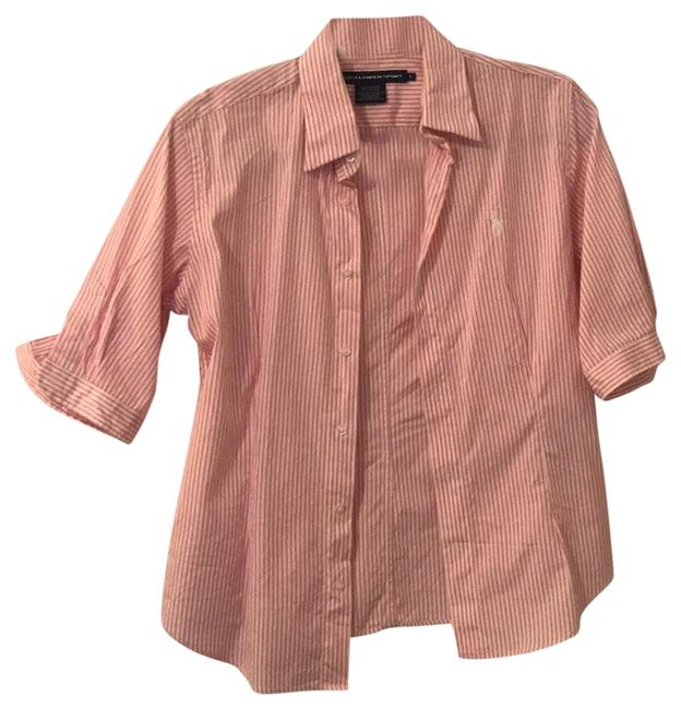 Polo Ralph Lauren Pink & White And Striped Sport Shirt Button-down Top Size 8 (M) Polo Ralph Lauren Pink & White And Striped Sport Shirt Button-down Top Size 8 (M) Image 1