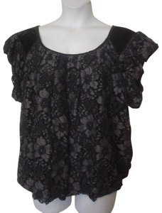 Studio M Lace Overlay Lined Top Black