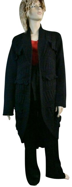 Item - Navy L Wool Knit Sweater Long Cardigan Over Coat Poncho/Cape Size 12 (L)