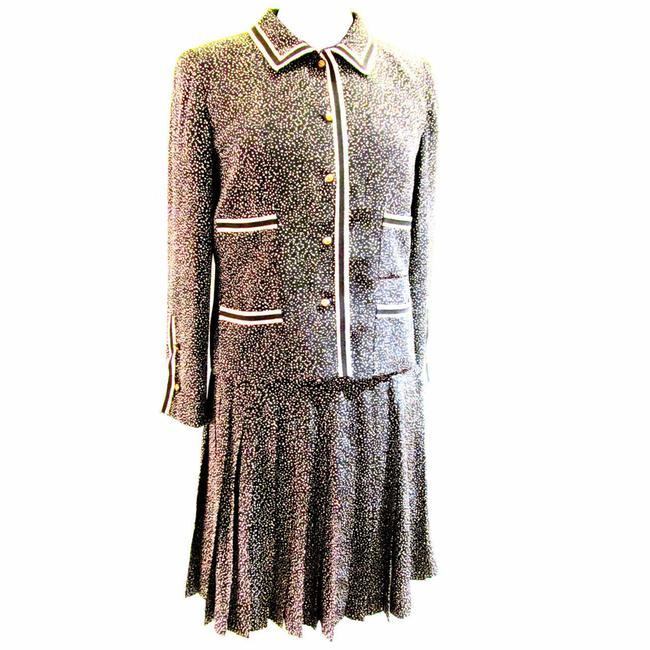 Item - Black and Cream Silk - Fabric with Iconic Lion Buttons - 1 Skirt Suit Size OS (one size)