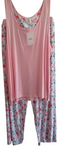 Layla NWT Pink & Floral Pajama Set Sleeveless Top Pants