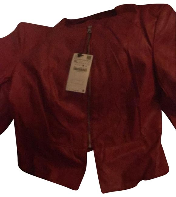 Item - Red Faux Leather Blazer Size 12 (L)