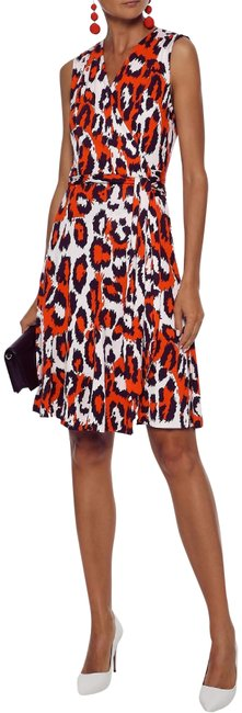 Item - Red White Leopard Dvf Jasmine Silk Wrap Short Casual Work/Office Mid-length Cocktail Dress Size 4 (S)