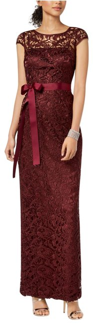 Item - Deep Wine Burgundy Cap-sleeve Illusion Lace Gown Long Formal Dress Size 14 (L)