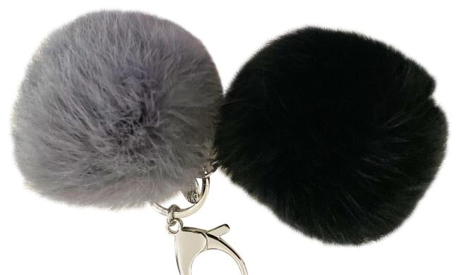 Item - Black and Grey Double Fur Pom Pom Keychain