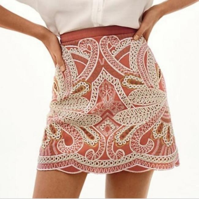 Item - Peach Gold Clotilde Embroidered Skirt Size 14 (L, 34)