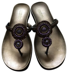 Kenneth Cole Flip Flops Jewel Gold/purple/copper Sandals