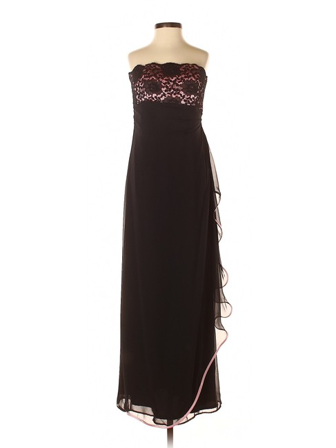 Item - Black Strapless Pink Lace Mesh Gown Long Night Out Dress Size 2 (XS)