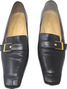 Chanel Square Toe Gold Buckle Buttons Black Flats