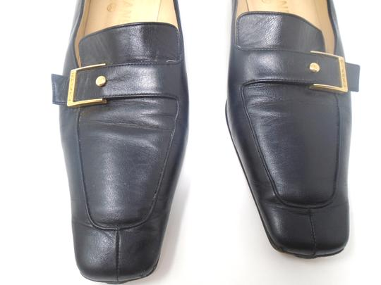 Chanel Square Toe Gold Buckle Buttons Black Flats Image 1