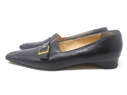 Chanel Square Toe Gold Buckle Buttons Black Flats Image 2