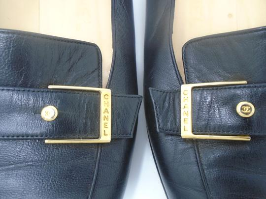 Chanel Square Toe Gold Buckle Buttons Black Flats Image 3