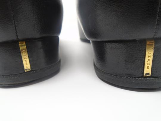 Chanel Square Toe Gold Buckle Buttons Black Flats Image 5