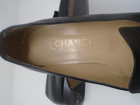 Chanel Square Toe Gold Buckle Buttons Black Flats Image 7