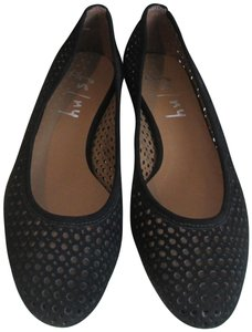 French Sole Nubuck Perforated Ballet Leauge orange Flats