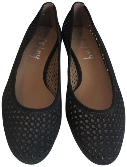 French Sole Nubuck Perforated Ballet Leauge orange Flats Image 0