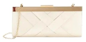 La Regale Jacquard Evening Gold Hardware Chain Holiday Champagne Clutch