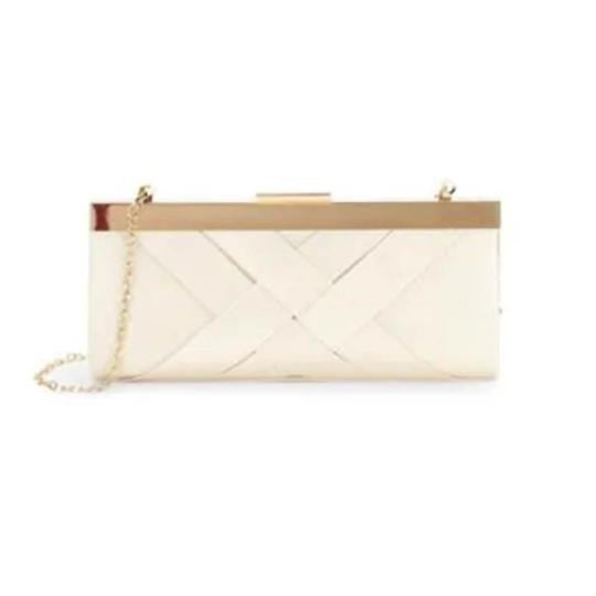 La Regale Jacquard Evening Gold Hardware Chain Holiday Champagne Clutch Image 2