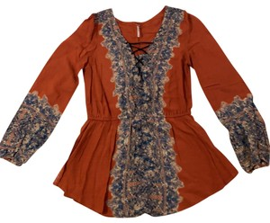 Free People Boho Festival Peasant Flowy Top Persimmon combo