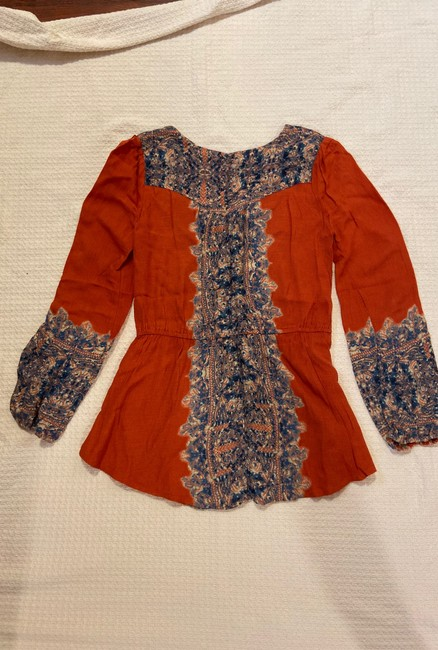 Free People Boho Festival Peasant Flowy Top Persimmon combo Image 1