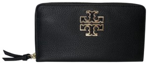 Tory Burch Tory Burch BRITTEN Zip Continental Wallet Pebbled Leather Black