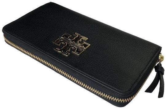 Tory Burch Tory Burch BRITTEN Zip Continental Wallet Pebbled Leather Black Image 1